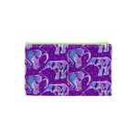 Cute Violet Elephants Pattern Cosmetic Bag (XS) Back