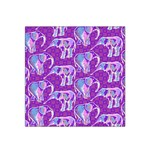 Cute Violet Elephants Pattern Satin Bandana Scarf Front