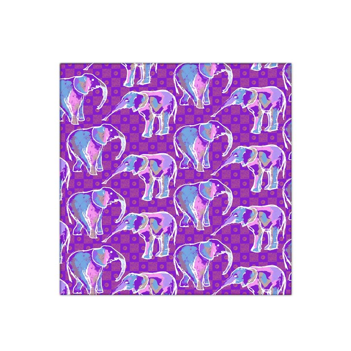 Cute Violet Elephants Pattern Satin Bandana Scarf