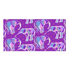 Cute Violet Elephants Pattern Satin Shawl