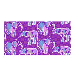 Cute Violet Elephants Pattern Satin Wrap