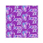 Cute Violet Elephants Pattern Small Satin Scarf (Square)  Front