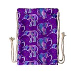 Cute Violet Elephants Pattern Drawstring Bag (Small) Back