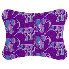 Cute Violet Elephants Pattern Jigsaw Puzzle Photo Stand (bow)
