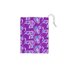 Cute Violet Elephants Pattern Drawstring Pouches (XS)