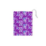 Cute Violet Elephants Pattern Drawstring Pouches (XS)  Front