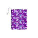Cute Violet Elephants Pattern Drawstring Pouches (XS)  Back