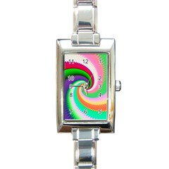 Colorful Spiral Dragon Scales   Rectangle Italian Charm Watch