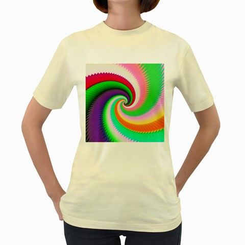 Colorful Spiral Dragon Scales   Women s Yellow T-Shirt