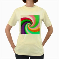 Colorful Spiral Dragon Scales   Women s Yellow T Shirt