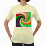 Colorful Spiral Dragon Scales   Women s Yellow T-Shirt Front