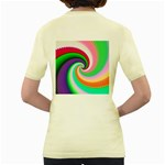 Colorful Spiral Dragon Scales   Women s Yellow T-Shirt Back