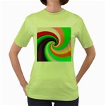 Colorful Spiral Dragon Scales   Women s Green T-Shirt Front