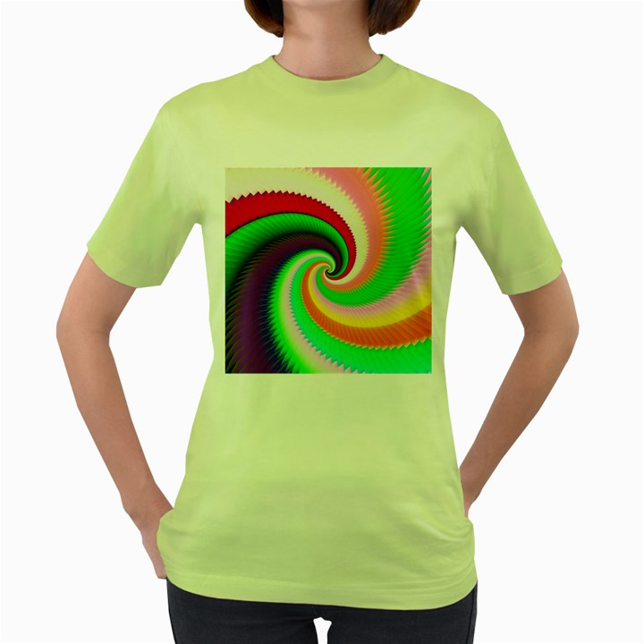 Colorful Spiral Dragon Scales   Women s Green T-Shirt