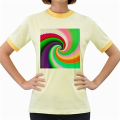 Colorful Spiral Dragon Scales   Women s Fitted Ringer T Shirts