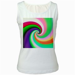 Colorful Spiral Dragon Scales   Women s White Tank Top
