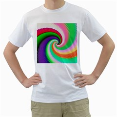 Colorful Spiral Dragon Scales   Men s T Shirt (white) (two Sided)