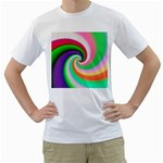 Colorful Spiral Dragon Scales   Men s T-Shirt (White) (Two Sided) Front