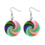 Colorful Spiral Dragon Scales   Mini Button Earrings Front