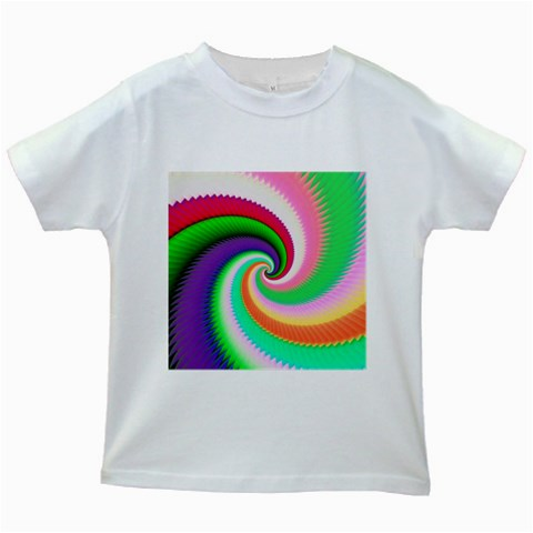 Colorful Spiral Dragon Scales   Kids White T-Shirts