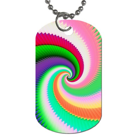 Colorful Spiral Dragon Scales   Dog Tag (One Side)