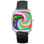 Colorful Spiral Dragon Scales   Square Metal Watch Front