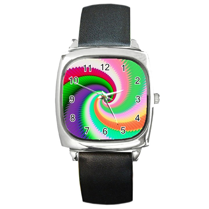 Colorful Spiral Dragon Scales   Square Metal Watch