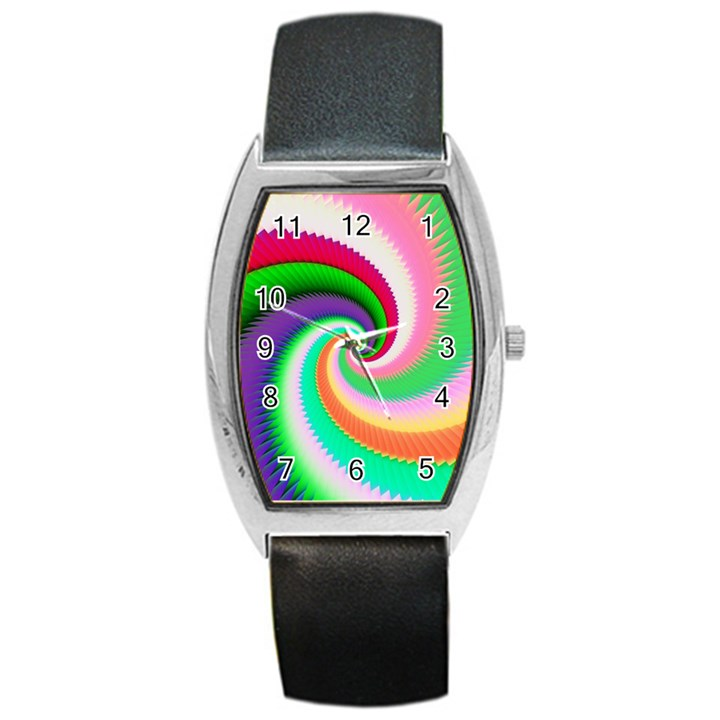 Colorful Spiral Dragon Scales   Barrel Style Metal Watch