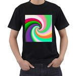 Colorful Spiral Dragon Scales   Men s T-Shirt (Black) (Two Sided) Front