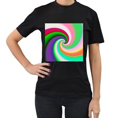 Colorful Spiral Dragon Scales   Women s T-Shirt (Black) (Two Sided)