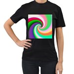 Colorful Spiral Dragon Scales   Women s T-Shirt (Black) (Two Sided) Front