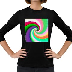 Colorful Spiral Dragon Scales   Women s Long Sleeve Dark T-Shirts