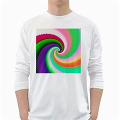 Colorful Spiral Dragon Scales   White Long Sleeve T Shirts