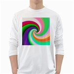 Colorful Spiral Dragon Scales   White Long Sleeve T-Shirts Front