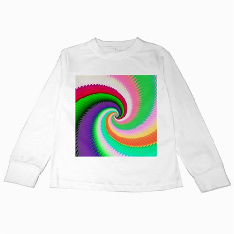 Colorful Spiral Dragon Scales   Kids Long Sleeve T-Shirts