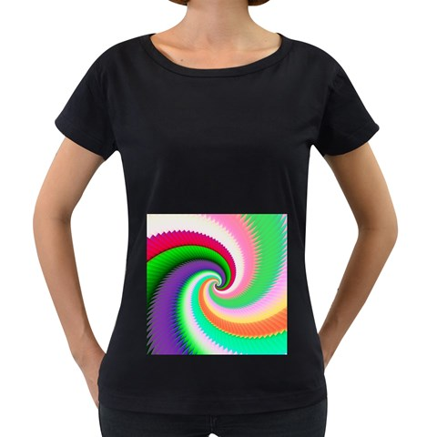 Colorful Spiral Dragon Scales   Women s Loose-Fit T-Shirt (Black)
