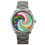 Colorful Spiral Dragon Scales   Sport Metal Watch Front