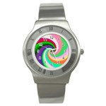 Colorful Spiral Dragon Scales   Stainless Steel Watch Front