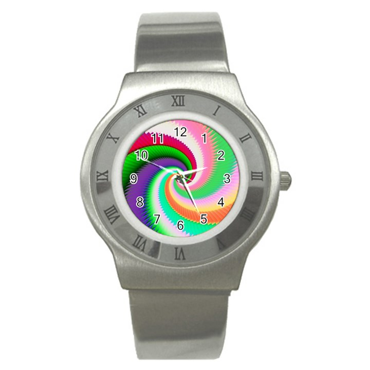 Colorful Spiral Dragon Scales   Stainless Steel Watch