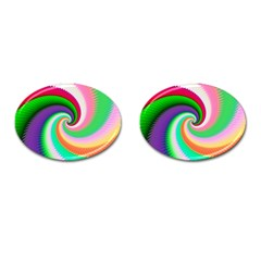 Colorful Spiral Dragon Scales   Cufflinks (oval)