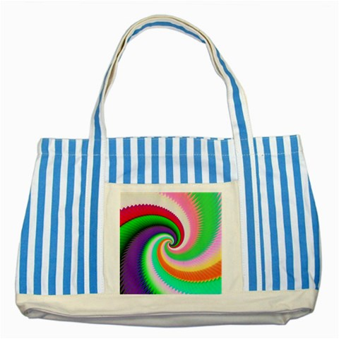 Colorful Spiral Dragon Scales   Striped Blue Tote Bag