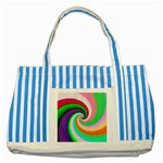 Colorful Spiral Dragon Scales   Striped Blue Tote Bag Front
