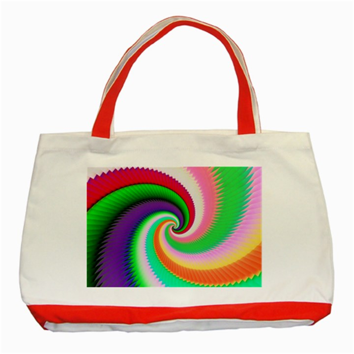 Colorful Spiral Dragon Scales   Classic Tote Bag (Red)