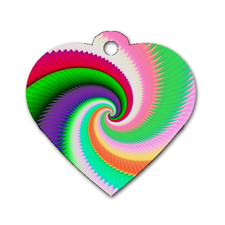 Colorful Spiral Dragon Scales   Dog Tag Heart (One Side)
