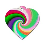 Colorful Spiral Dragon Scales   Dog Tag Heart (Two Sides) Back