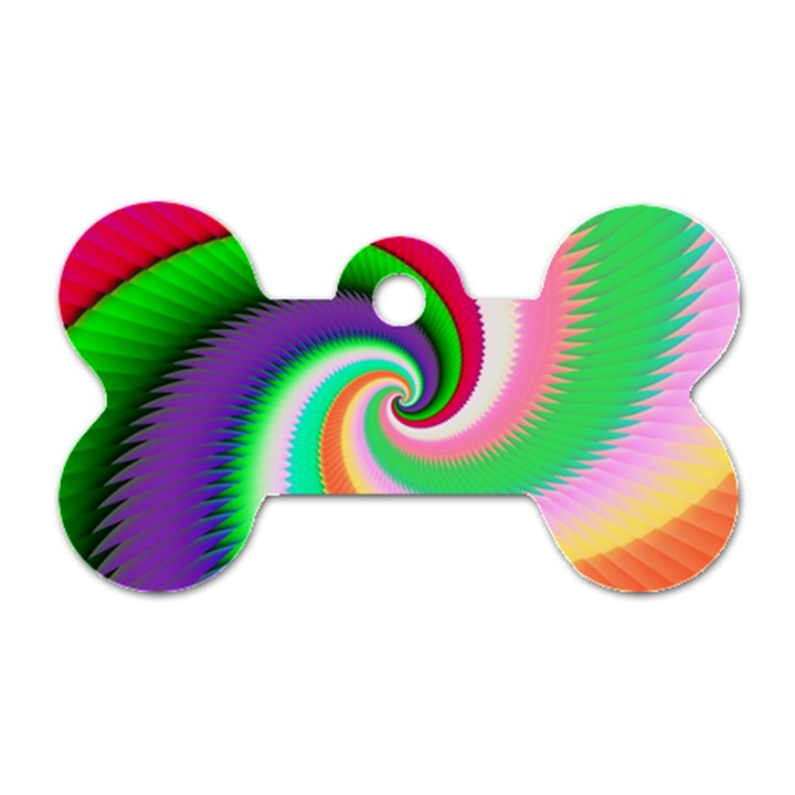 Colorful Spiral Dragon Scales   Dog Tag Bone (Two Sides)