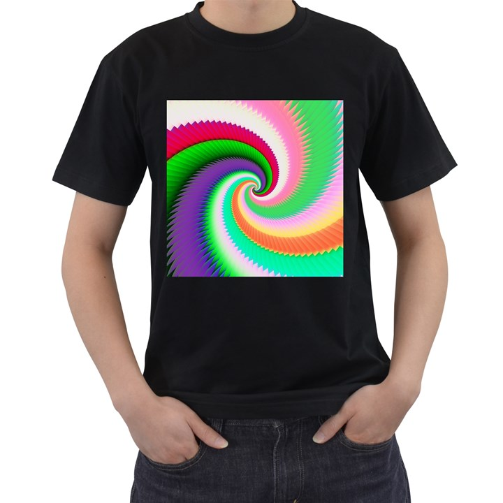 Colorful Spiral Dragon Scales   Men s T-Shirt (Black)