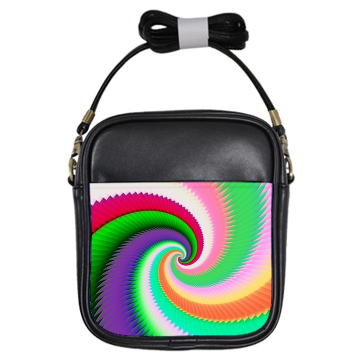 Colorful Spiral Dragon Scales   Girls Sling Bags