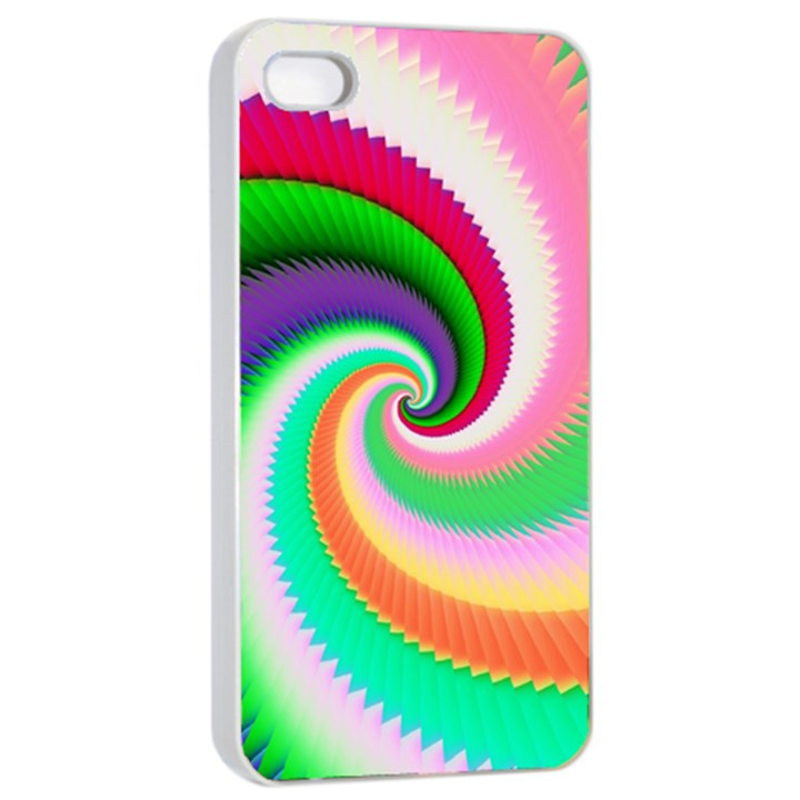 Colorful Spiral Dragon Scales   Apple iPhone 4/4s Seamless Case (White)