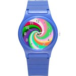 Colorful Spiral Dragon Scales   Round Plastic Sport Watch (S) Front